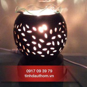 đèn xông tinh dầu gốm nâu họa tiết lá