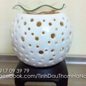 Đèn xông tinh dầu gốm trắng họa tiết tròn