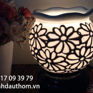 đèn xông tinh dầu gốm họa tiết ngàn hoa