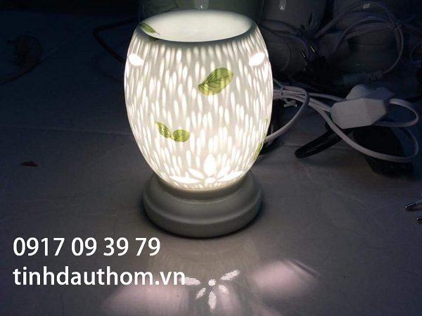 đèn xông tinh dầu gốm họa tiết mưa