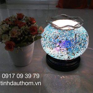 đèn xông tinh dầu pha lê xanh