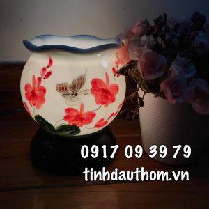 đèn xông tinh dầu gốm hoa lan