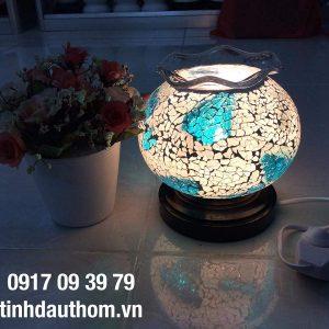 đèn xông tinh dầu pha lê xanh trắng