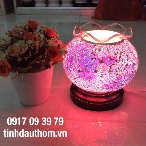đèn xông tinh dầu pha lê hồng