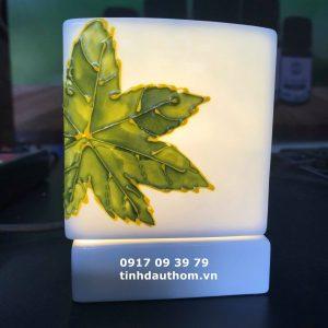 Đèn tinh dầu vuông lá phong xanh